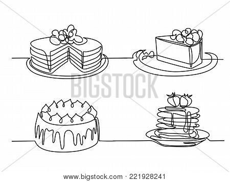 Set continuous line drawing of big cake. Vector illustration black line on white background.