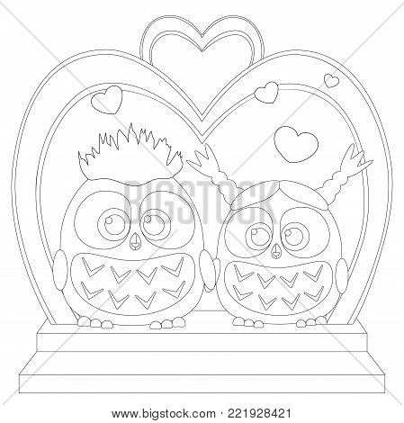 Cute baby owl love black and white wedding poster, heart arc, stair. Coloring book page for adults and kids. Valentine holiday vector illustration for gift card, certificate banner poster invitation