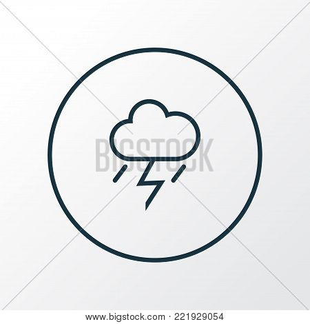 Thunderstorm icon line symbol. Premium quality isolated lightning element in trendy style.