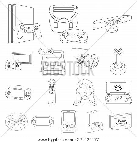 Game console and virtual reality outline icons in set collection for design.Game Gadgets vector symbol stock illustration.
