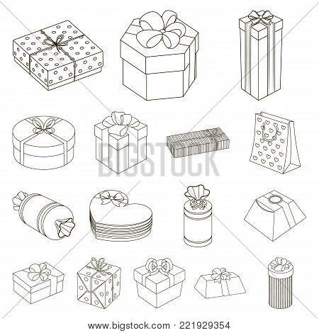 Gift and packing outline icons in set collection for design.Colorful packing vector symbol stock  illustration.
