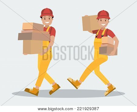 Delivery service. Two workers carry parcels. Young people are couriers with parcels in their hands. The postman, the courier with the package. Style flat.