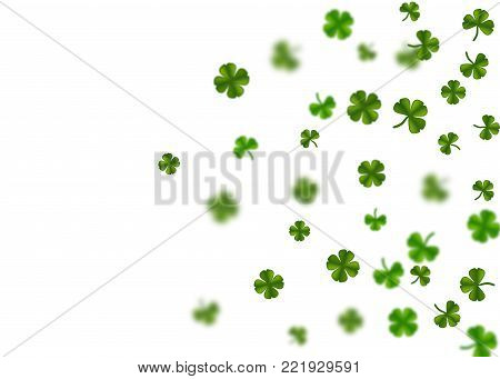 Isolated white vector illustration. Greeting happy St. Patricks day holiday. Green clover random size falling shimmer transparent background. Irish sign and symbol happy luck.