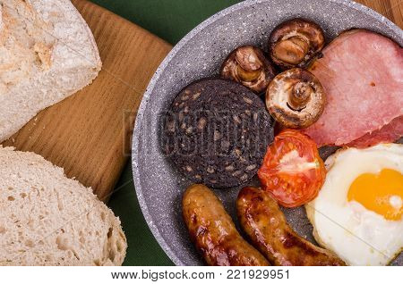 Large Ulster Fry Breakfast. Ulster Fry breakfast or all-day breakfast, a selection of fried breakfast food often served with Sourdough bread and hot fresh coffee.