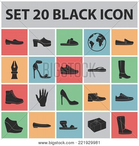 A variety of shoes black icons in set collection for design. Boot, sneakers vector symbol stock  illustration.