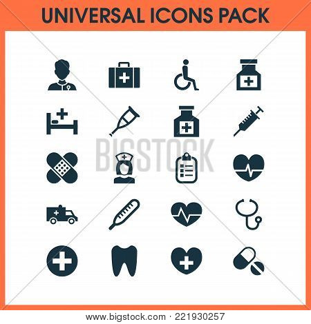 Drug icons set with drug, healer, mark and other handicapped elements. Isolated vector illustration drug icons.