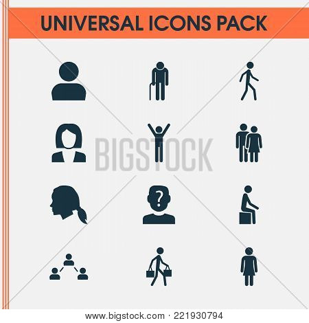 Human icons set with businesswoman, network, gentlewoman head and other happy elements. Isolated vector illustration human icons.