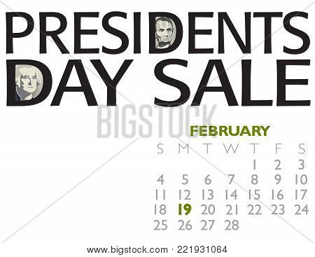 Presidents Day Sale Poster with Washington and the sixteenth president