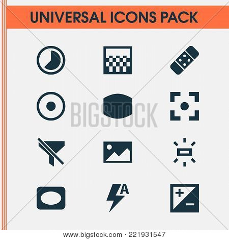 Image icons set with mode, plaster, picture and other frame elements. Isolated vector illustration image icons.