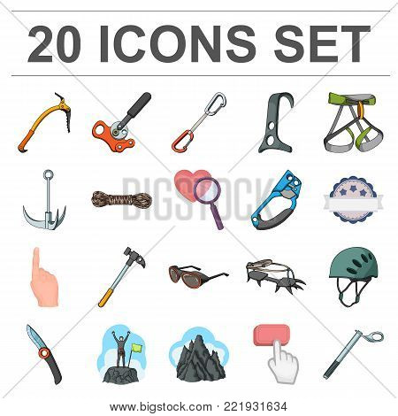 Mountaineering and climbing cartoon icons in set collection for design. Equipment and accessories vector symbol stock  illustration.