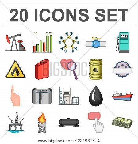 Oil industry cartoon icons in set collection for design. Equipment and oil production vector symbol stock  illustration.
