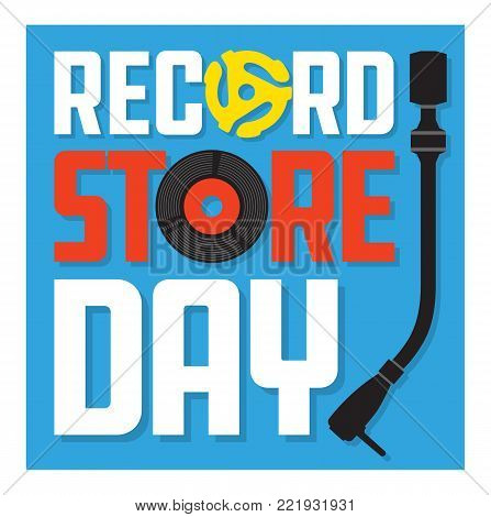 Record Store Day Album Cover Design. Vector design featuring vinyl record, record insert spindle adaptor, turntable tone arm and the words Record Store Day. Easy to edit and fully scalable.