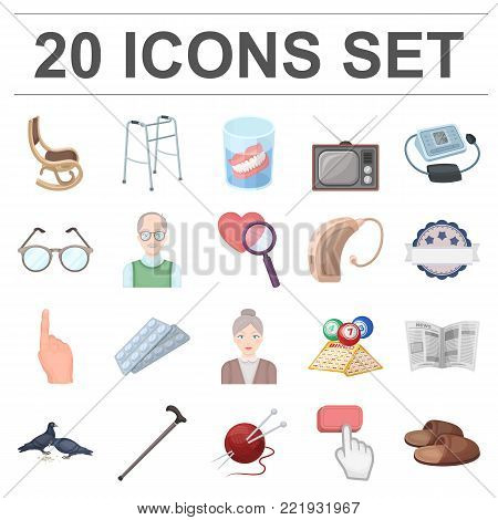 Human old age cartoon icons in set collection for design. Pensioner, period of life vector symbol stock  illustration.