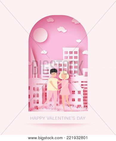 Happy Valentine's day 3d abstract paper cut illustration of colorful paper art landscape with paper cut couple, big city, sun and sky. Vector design template