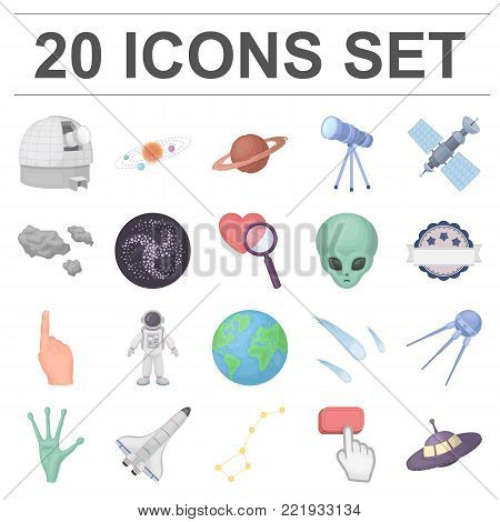 Space technology cartoon icons in set collection for design.Spacecraft and equipment vector symbol stock  illustration.