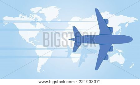 Plane hovering over the world map. Vector illustration.