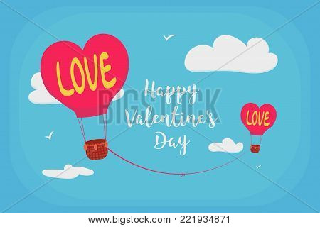 Happy Valentine's Day. Valentine's Day greeting card. Balloons in the form of a heart with the inscription love, are tied to each other by the thread of fate.