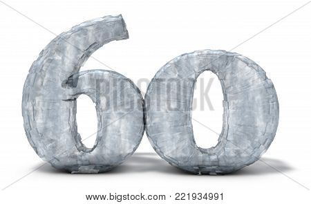 frozen number sixty on white background - 3d illustration