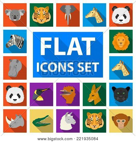 Wild animal flat icons in set collection for design. Mammal and bird vector symbol stock  illustration.