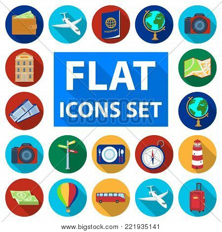 Rest and travel flat icons in set collection for design. Transport, tourism vector symbol stock  illustration.