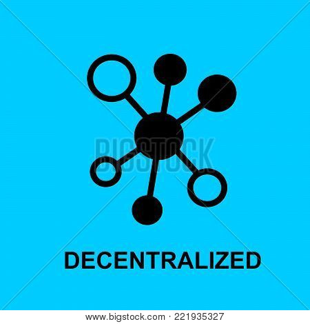 Block chain flat icon. Decentralized symbol. Vector Illustration. Block Chain Technology Concept.