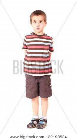 Single Sad Little Boy Looking Outside Upwards