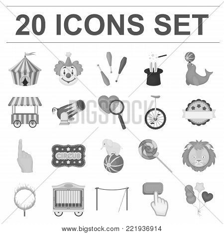 Circus and attributes monochrome icons in set collection for design. Circus Art vector symbol stock  illustration.