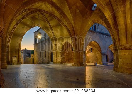 streets of the Knights in the old town of  Rhodes Greece