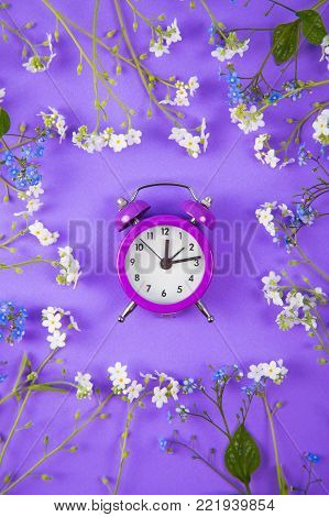 Violet small alarm clock surrounded with blue and white little flowers on purple background. Concept of spring time.
