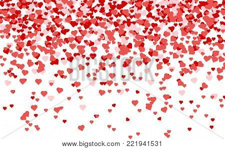 Heart confetti of Valentines petals falling on white background. Red pattern of random falling hearts confetti. Chaotic shape on white valentine background. Border design element for Valentines day.