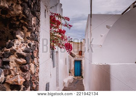 Pyrgos town tiny streets daily life view, Santorini island, Greece.