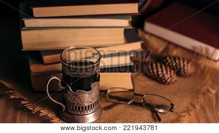Old books and tea in the evening.