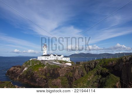 Standing between idyllic Lough Swilly  and sandy Mulroy Bay, Fanad Head Lighthouse has been voted one of the  most beautiful lighthouses in the world.