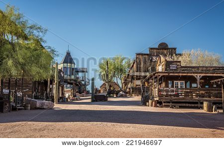 GOLDFIELD, ARIZONA, USA - MAY 17, 2016 : Old wooden buildings in Goldfield Ghost town. Goldfield, later Youngsberg was a gold mining town, now a ghost town in Pinal County, Arizona.