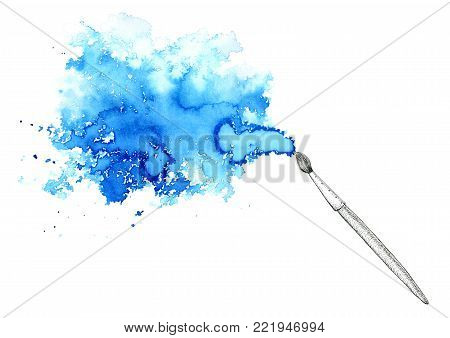 Brush and blue watery stain.Abstract watercolor hand drawn illustration.Azure splash.White background.