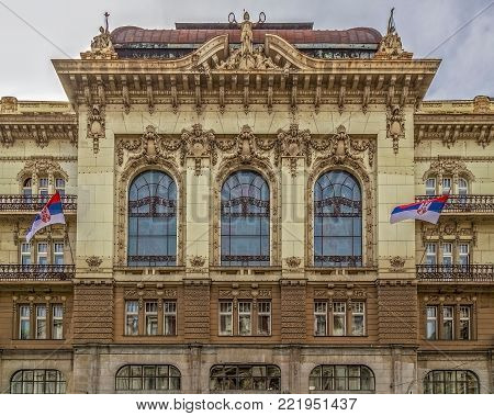 BELGRADE, SERBIA - MARCH 18, 2017: Detail of Serbian Academy of Sciences and Arts. (SANU). Built in 1822, is a national academy and the most prominent academic institution in Serbia, founded in 1841.