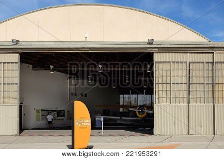 IRVINE, CA - JANUARY 14, 2018: . Hangar 244, the former squadron complex hangar has been carefully restored as a special event space.