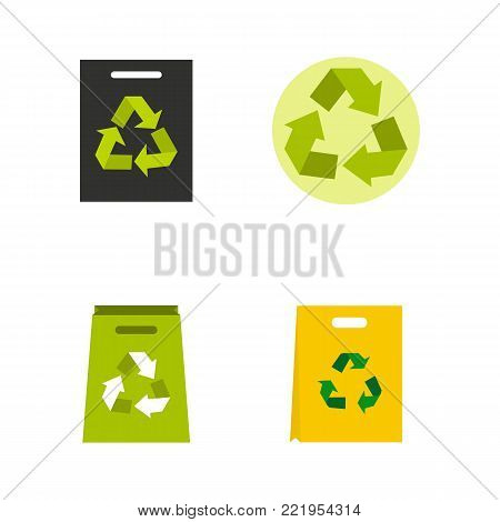 Recycle material icon set. Flat set of recycle material vector icons for web design isolated on white background