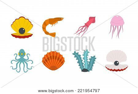 Sea creature icon set. Flat set of sea creature vector icons for web design isolated on white background