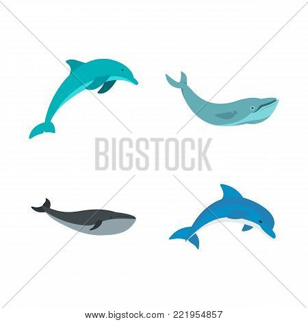 Aqua mammal icon set. Flat set of aqua mammal vector icons for web design isolated on white background