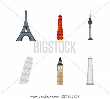 History tower icon set. Flat set of history tower vector icons for web design isolated on white background