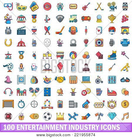 100 entertaiment industry icons set. Cartoon illustration of 100 entertaiment industry vector icons isolated on white background