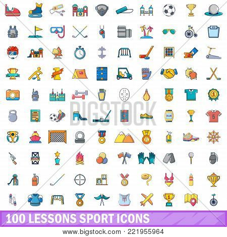 100 lessons sport icons set. Cartoon illustration of 100 lessons sport vector icons isolated on white background