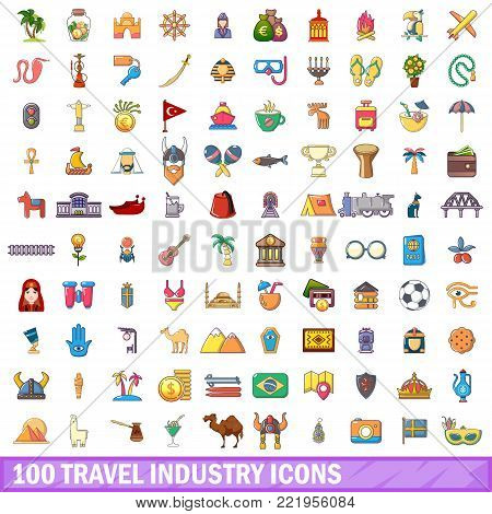 100 travel industry icons set. Cartoon illustration of 100 travel industry vector icons isolated on white background