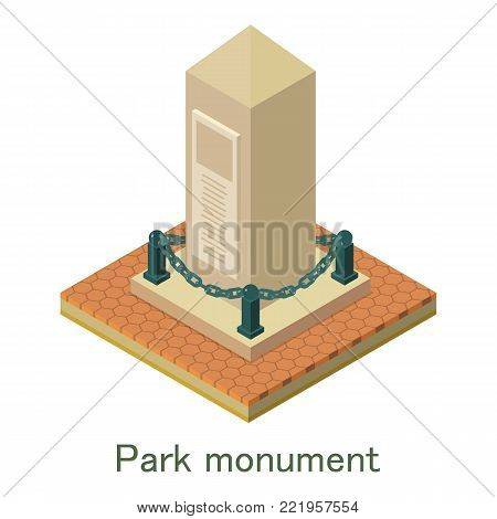 Park monument icon. Isometric illustration of park monument vector icon for web.