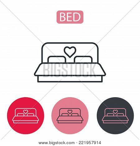 Bed with heart icon. Double hotel room line icon. Bed, pillow, mattress icon vector image. Symbol for info graphics, websites and print media. Public Navigation Related Vector Icon. Editable stroke.