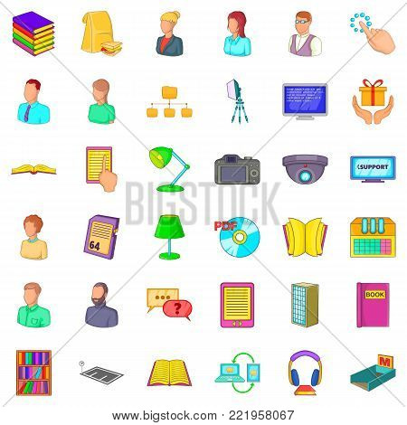 Textbook icons set. Cartoon style of 36 textbook vector icons for web isolated on white background