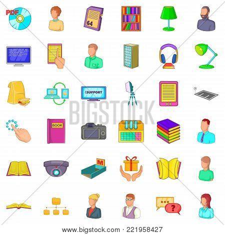 Bookshelf icons set. Cartoon style of 36 bookshelf vector icons for web isolated on white background
