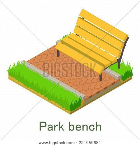 Park bench icon. Isometric illustration of park bench vector icon for web.