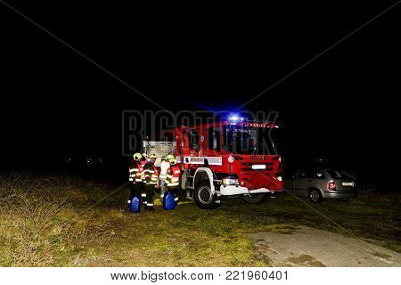 SAKVICE, THE CZECH REPUBLIC -  JANUARY 14, 2018: The firefighters  finished cleaning up the railway line.